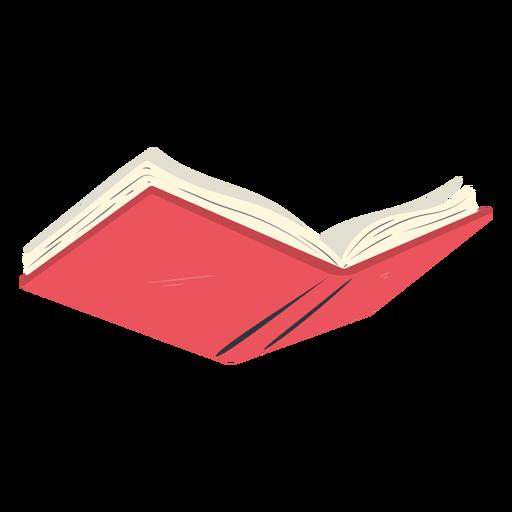 Red school book open flat