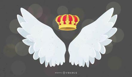 Corona y alas de moda