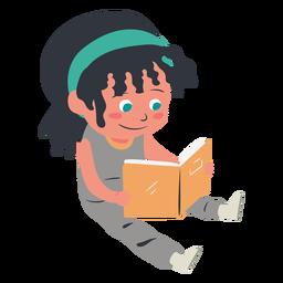 Carácter de lectura niña sonriente