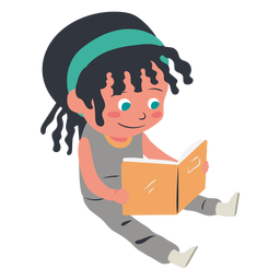 Smiling girl reading character