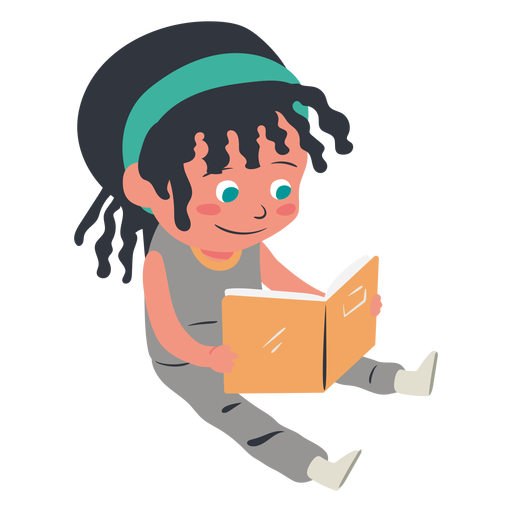 Smiling girl reading character Transparent PNG