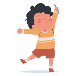 Sonriente personaje de pluma de niño