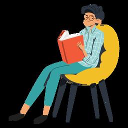 Adolescente con personaje de libro grande