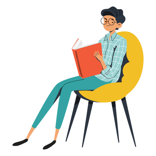 Teen with big book character Transparent PNG