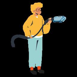 Adolescente con gran personaje de cable
