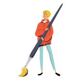Teen with big paint brush character