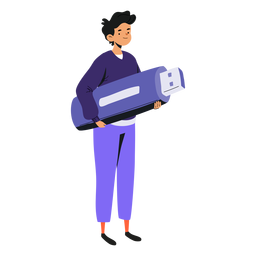 Teen with giant flashdrive character