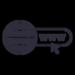 Trazo del icono del cursor del sitio web www