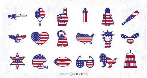 Diseños de iconos de bandera americana