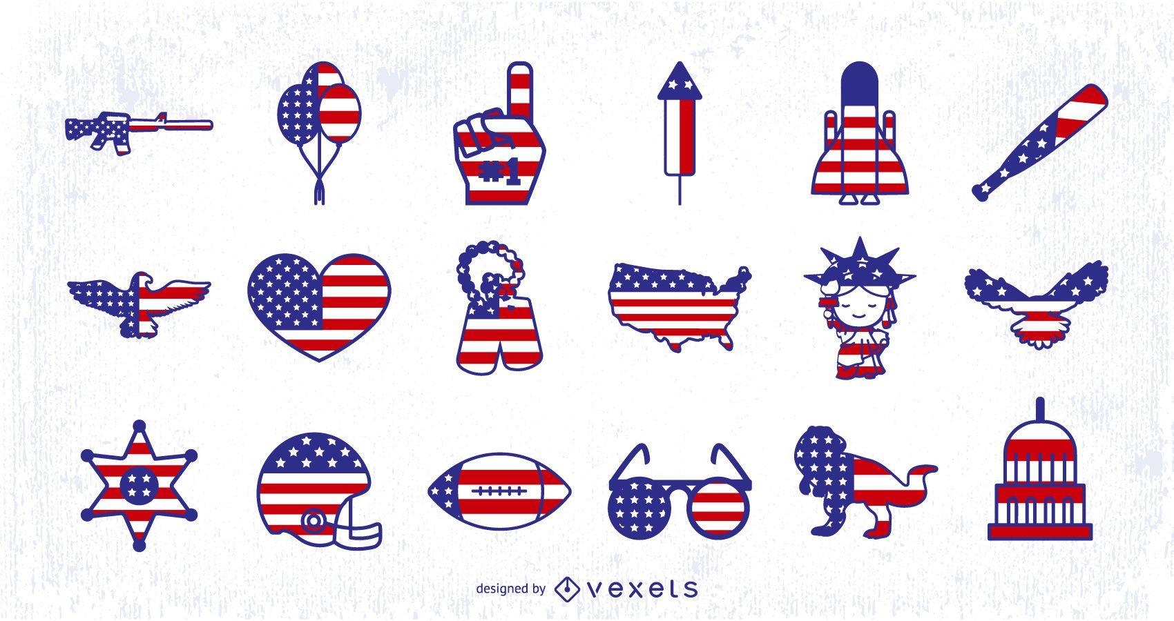 Desenhos de ícones da bandeira americana