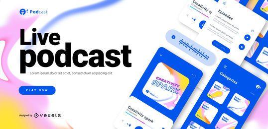 Plantilla deslizante de podcast en vivo