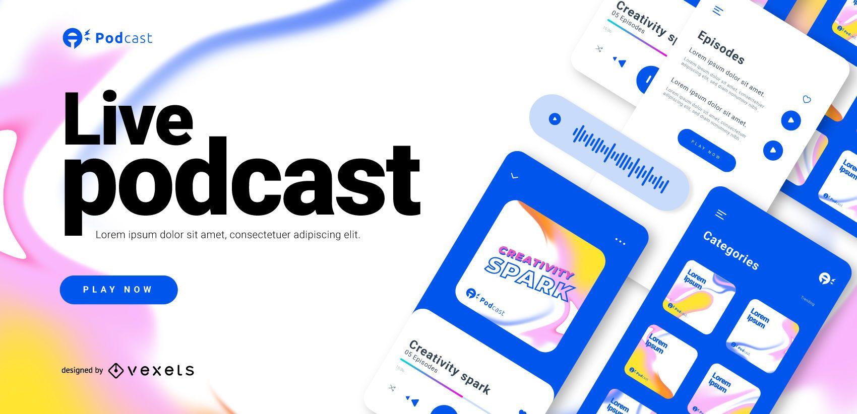 Plantilla de control deslizante de podcast en vivo