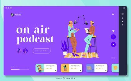 Modelo de página de destino de podcast