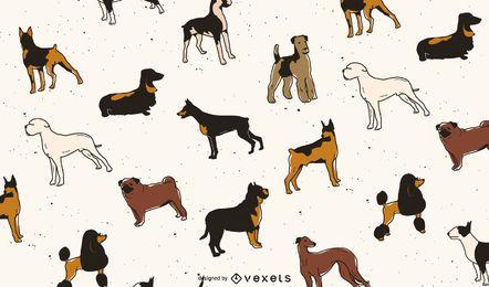 Dog breeds pattern design