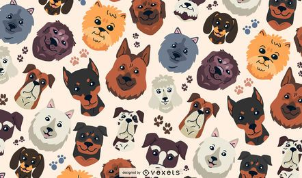 Dog heads pattern design