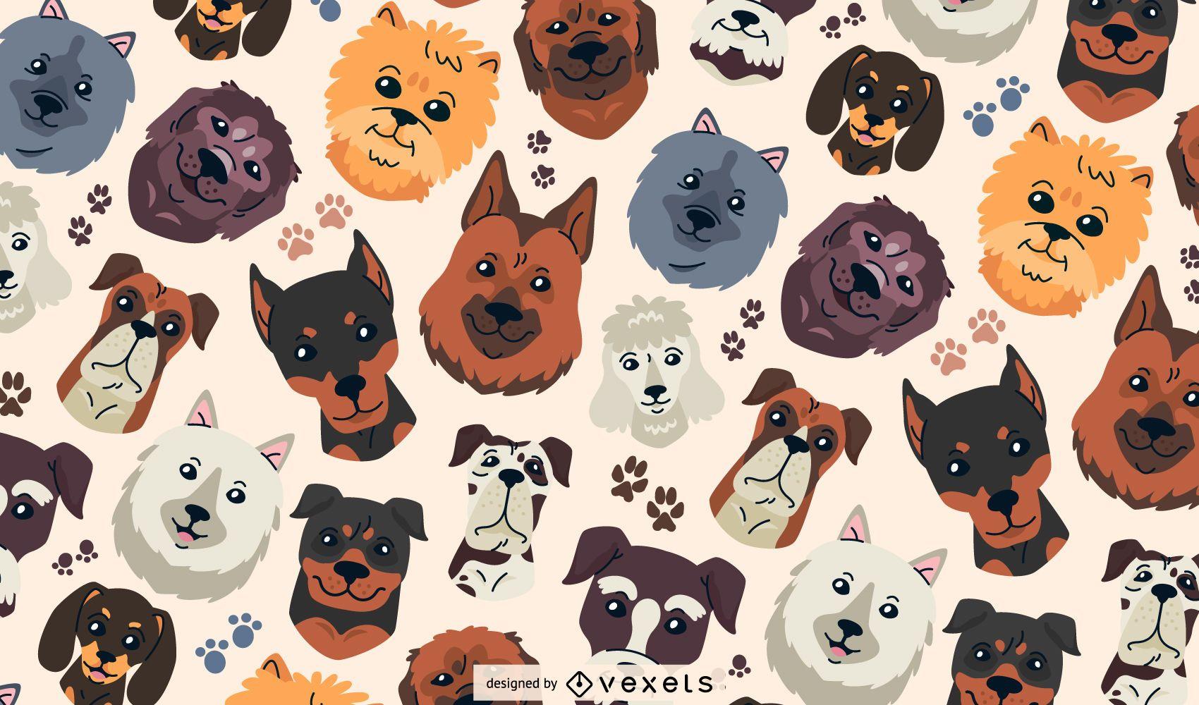 Design de padrão de cabeças de cachorro