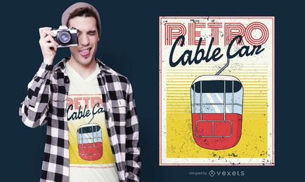 Retro Cable Car T-shirt Design