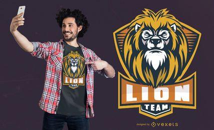 Design de t-shirt da equipe do leão