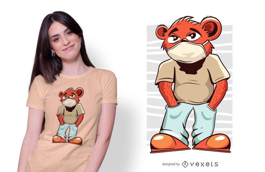 Diseño de camiseta de mascarilla de oso