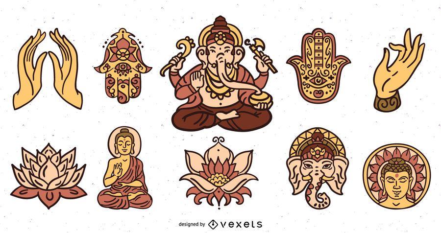 Paquete de ilustración de elementos de hinduismo