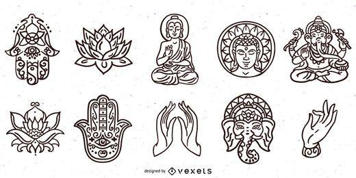 Paquete de trazos de elementos del hinduismo