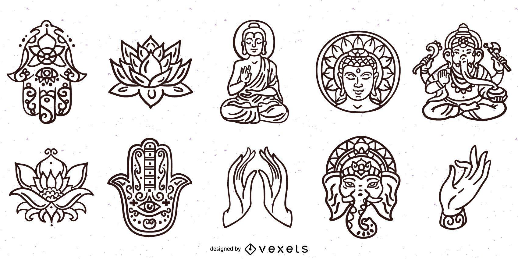 Paquete de trazos de elementos de hinduismo