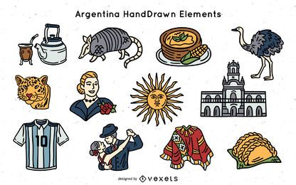 Pack de elementos de argentina dibujados a mano