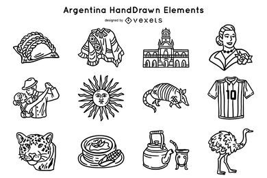 Paquete de elementos de trazo de argentina dibujados a mano