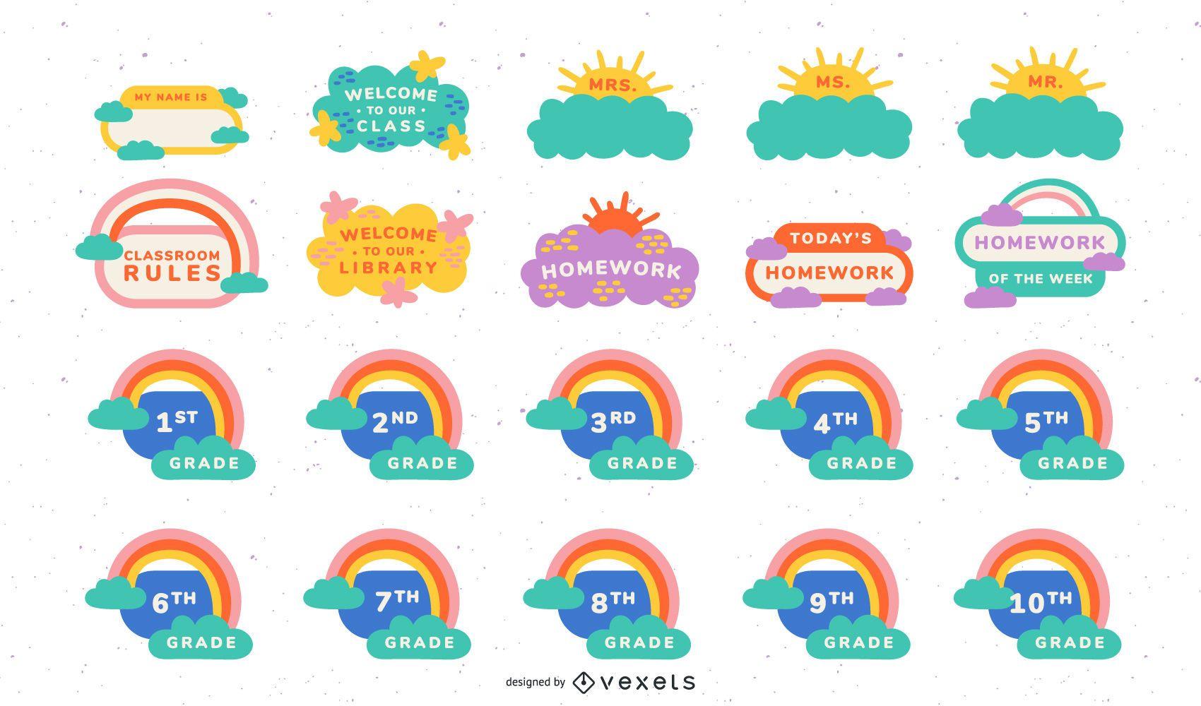 Conjunto de etiquetas decorativas para sala de aula