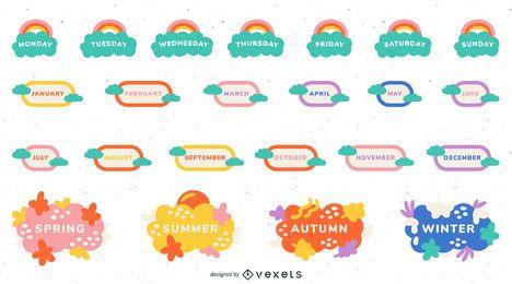 Conjunto de etiquetas de calendario de aula