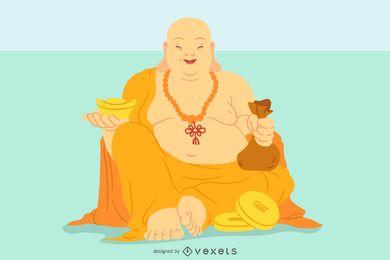 Ilustración sonriente de Buda