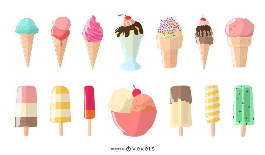 ice cream illustration set