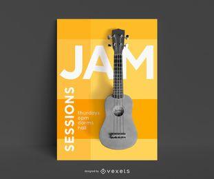 Modelo de cartaz - lições de guitarra