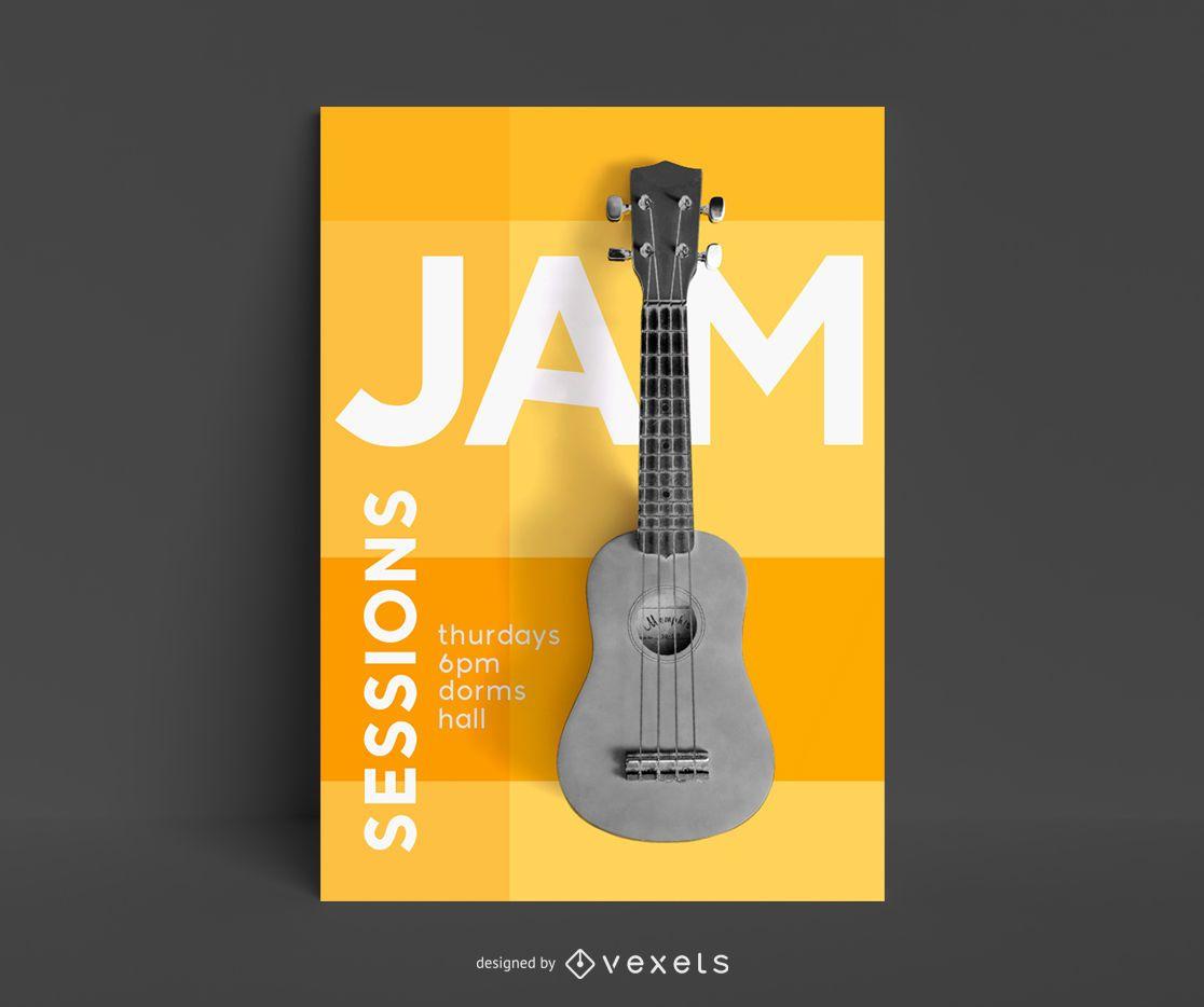 Modelo de pôster de aulas de guitarra