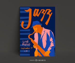 Modelo de cartaz ao vivo de jazz