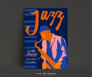 Plantilla de póster de jazz en vivo