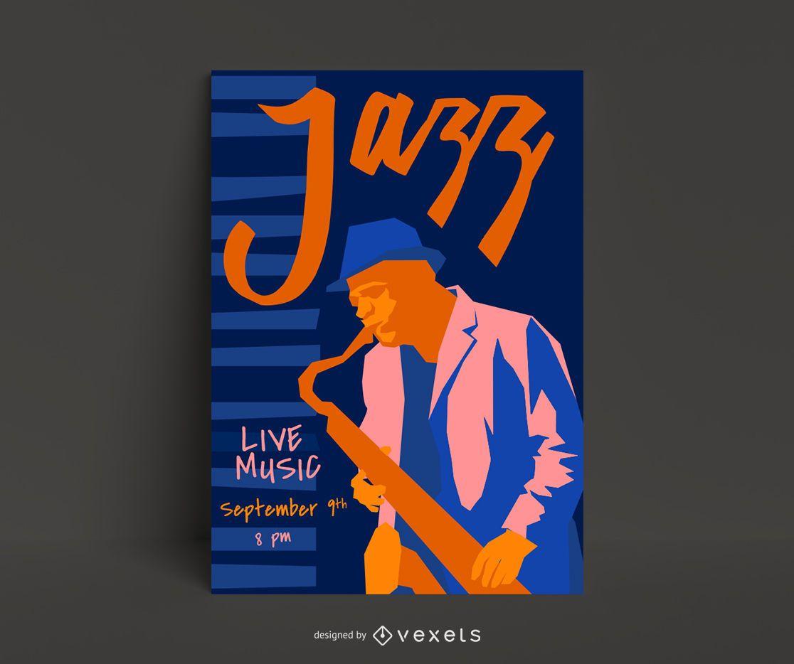 Modelo de pôster de jazz ao vivo