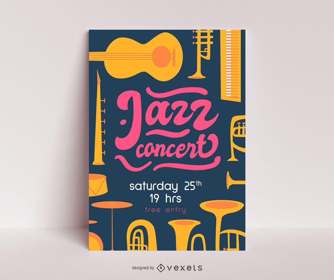 Modelo de pôster de show de jazz