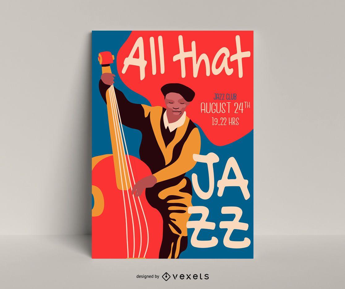 Toda esa plantilla de póster de jazz
