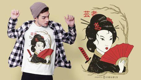 Design de camiseta com ilustração de gueixa