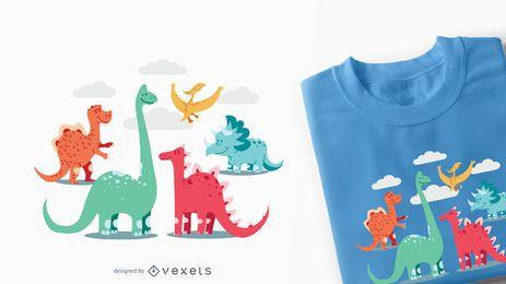 Diseño de camiseta para niños de dinosaurios de dibujos animados