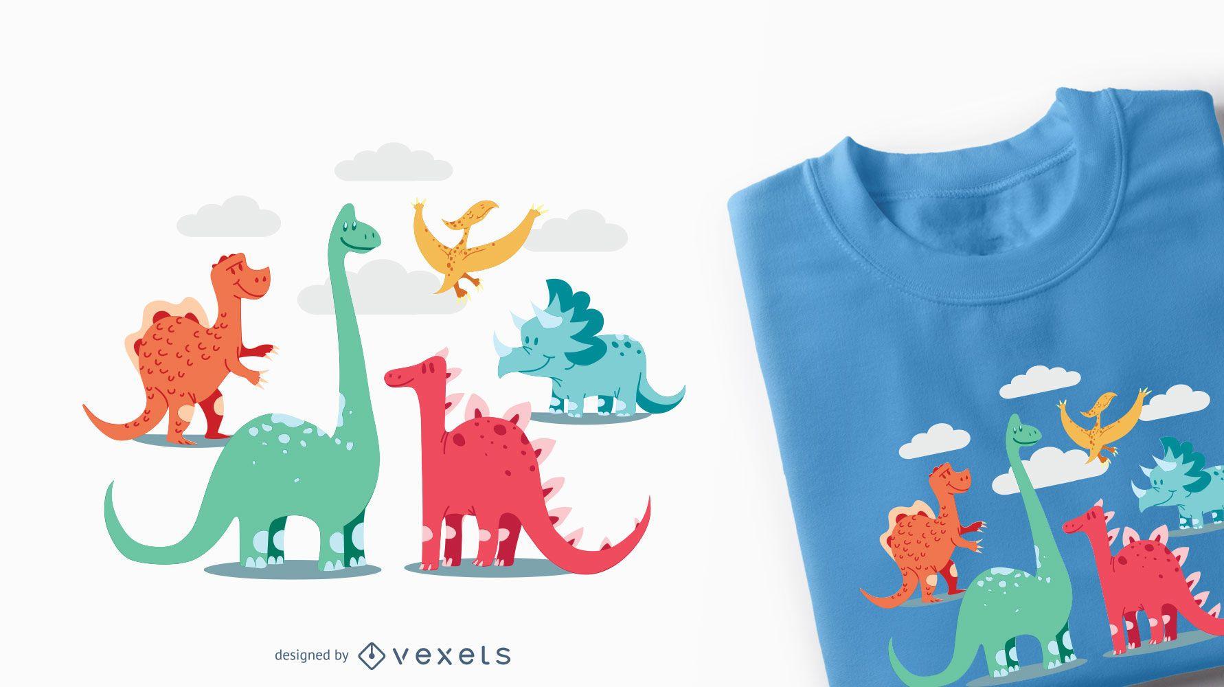 Cartoon Dinosaurs Kids T-shirt Design