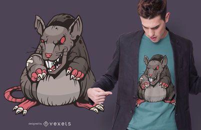 Design de t-shirt irritado escuro do rato