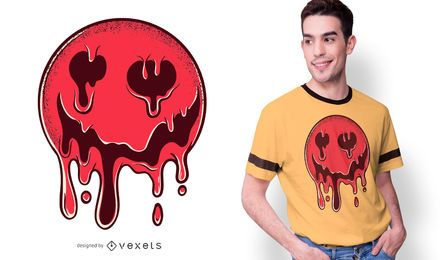 Design de derretimento do t-shirt do smiley escuro