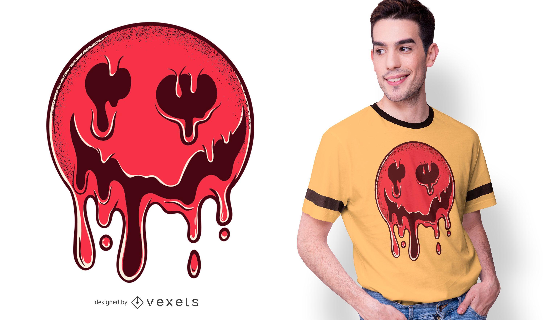 Melting Dark Smiley T-shirt Design