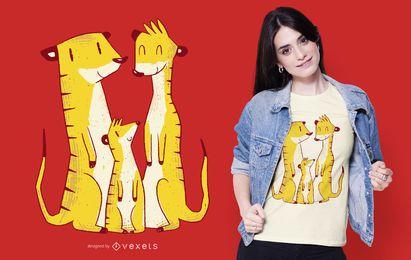 Diseño de camiseta de la familia Meerkat