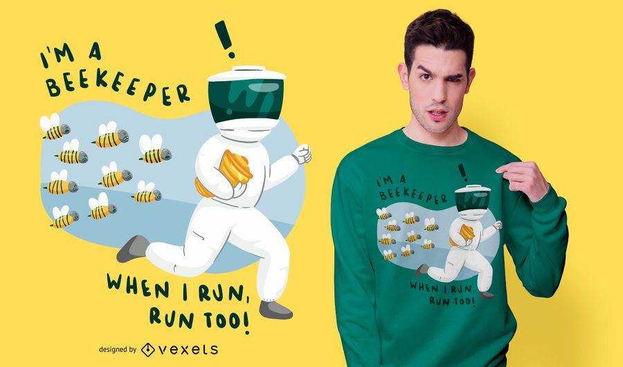 Design engraçado do t-shirt das citações do apicultor