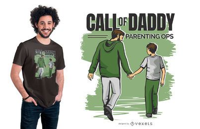 Diseño de camiseta divertida Call of Daddy