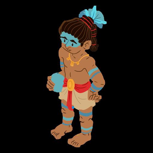 Aztec man colorful isometric