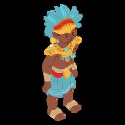 Tocado de hombre azteca isométrico